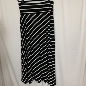 Dex Maxi Skirt Black White Stripes Fold Over